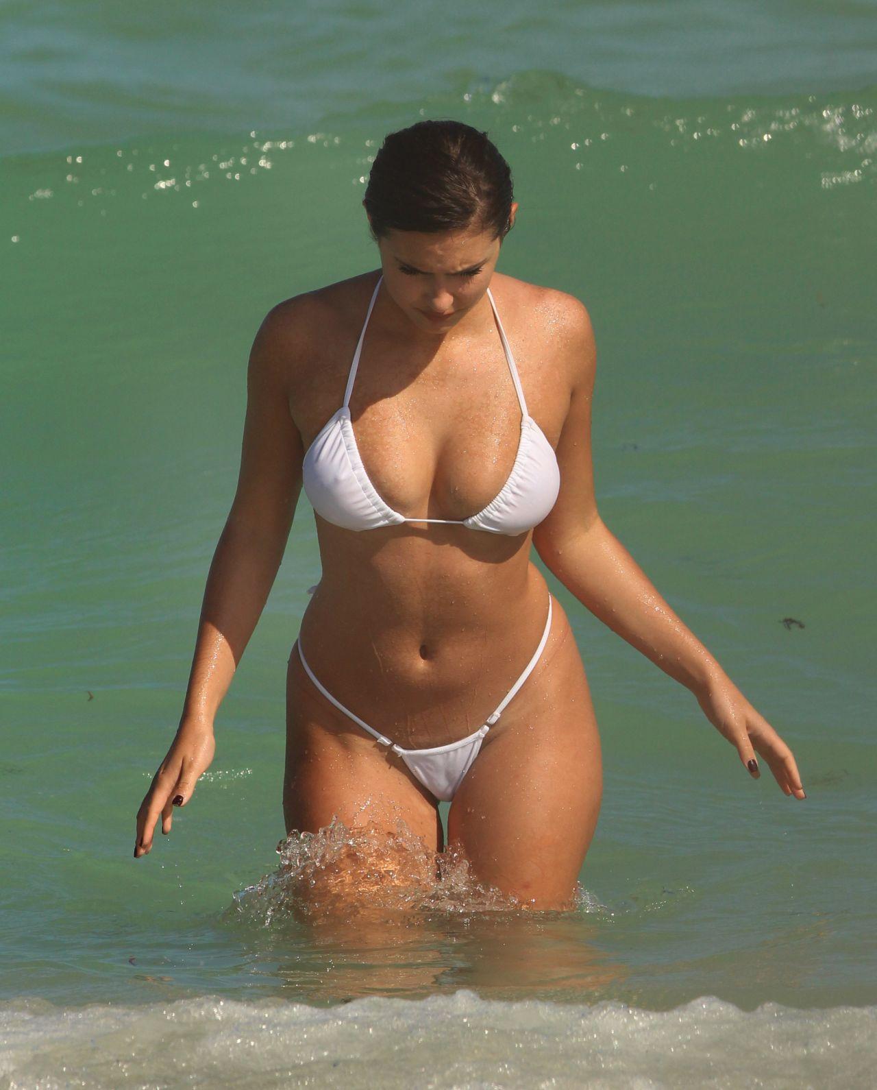 Tao Wickrath in a White Bikini - Miami Beach