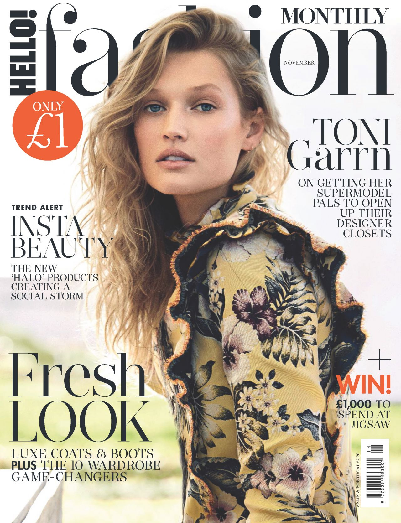 Toni Garrn - Hello Fashion Monthly November 2017 Issue