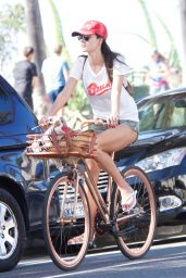 Alessandra Ambrosio Leggy in Cutoffs - Riding a Bike in Santa Monica 11/23/2017