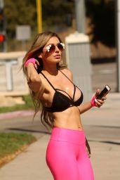 Ana Braga in a Pink Spandex Pants in Calabasas, November 2017