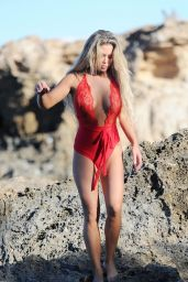 Bianca Gascoigne in a Red Swimsuit in Cyprus 11/17/2017