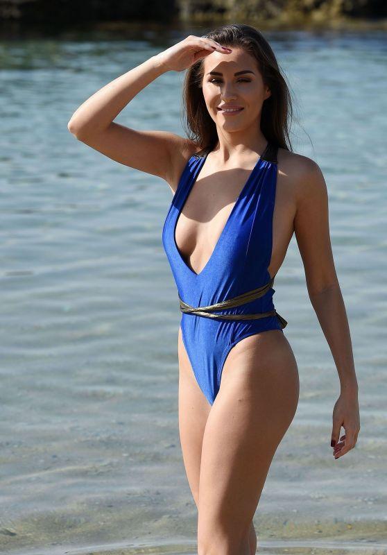 Chloe Goodman in a Blue Swimsuit - Cape Verde, November 2017