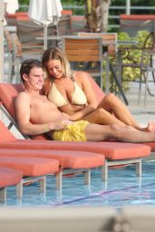 Chloe Meadows in a Cream Bikini - With Boyfriend Taylor Barnett in Mexico