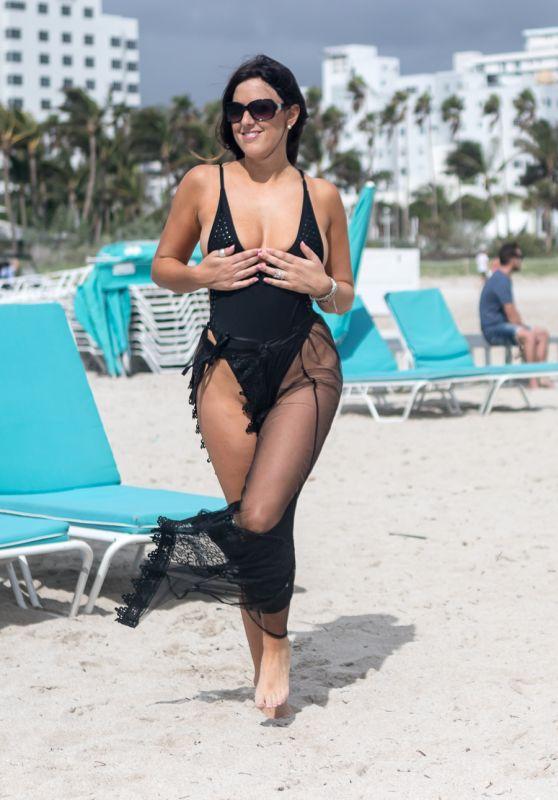 Claudia Romani in Swimsuit on South Beach in Miami 11/05/2017