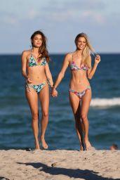 Danielle Knudson and Melody De La Fee - Beach in Miami 11/10/2017
