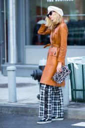 Elsa Hosk in a Gucci Coat and I.AM.GIA Pants With a Chanel Handbag in NYC 11/12/2017