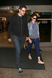 Emmy Rossum and Sam Esmail at LAX Airport in Los Angeles 11/27/2017
