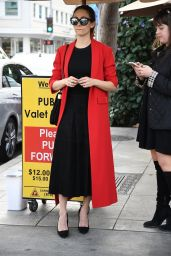Emmy Rossum in a Long Red Coat at Il Pastaio in Beverly Hills 11/16/2017