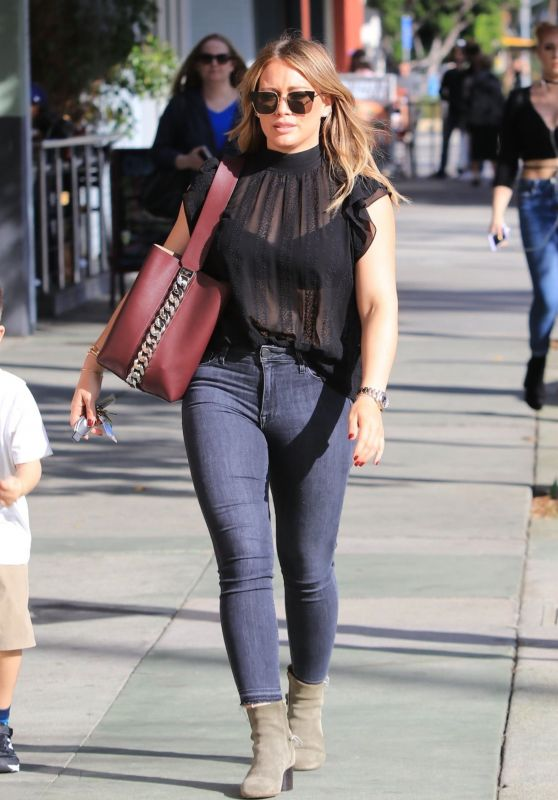 Hilary Duff in a Black Sheer Top and Tight Jeans - Los Angeles 11/17/2017