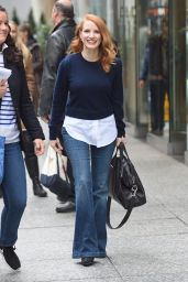 Jessica Chastain Casual Style - Out for Lunch in NYC 11/16/2017