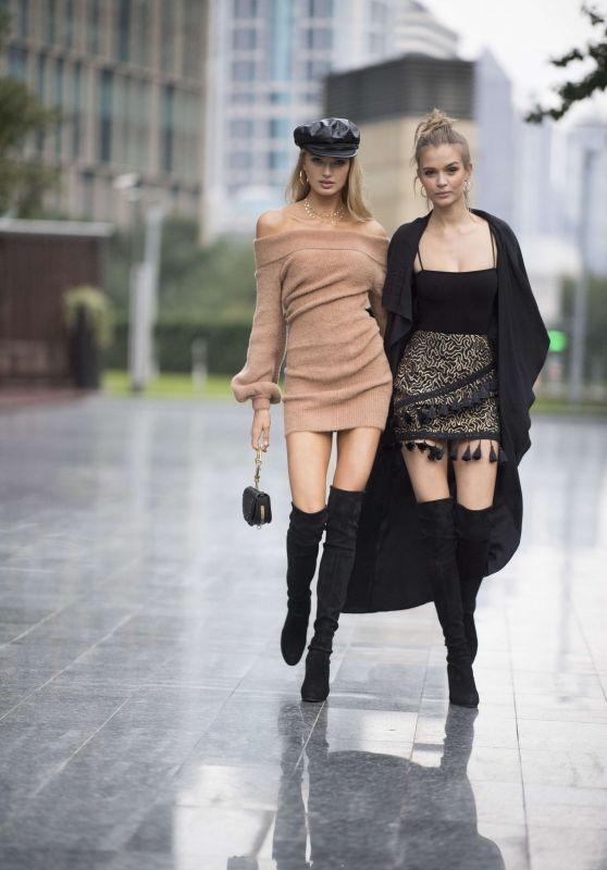 Josephine Skriver and Romee Strijd - Shanghai, China 11/22/2017