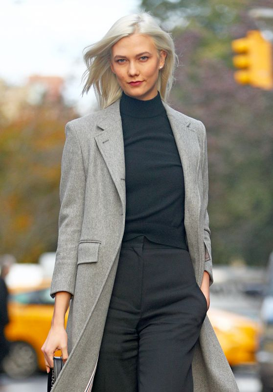 Karlie Kloss Wearing Black Pants and a Light Grey Trench Coat - NYC 11/15/2017