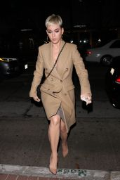 Katy Perry in Long Brown Coat - Madeo Restaurant in West Hollywood 11/20/2017