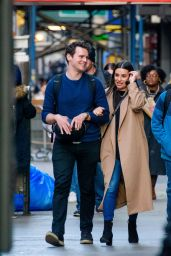 """Lea Michele With Her """"Glee"""" Co-Star Jonathan Groff in NYC 11/21/2017"""