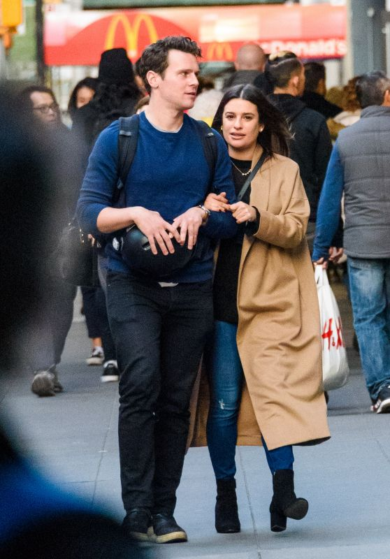 "Lea Michele With Her ""Glee"" Co-Star Jonathan Groff in NYC 11/21/2017"