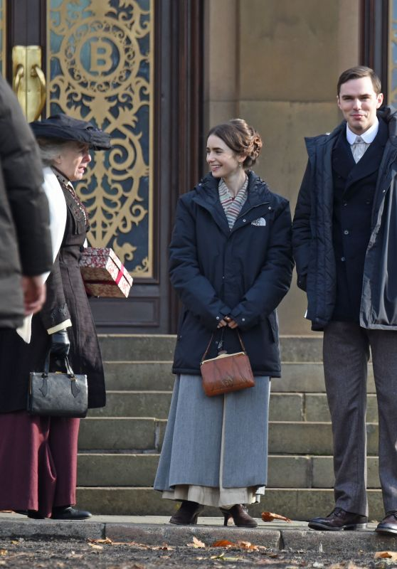 """Lily Collins With Nicholas Hoult - """"Tolkien"""" Set in Liverpool 11/08/2017"""