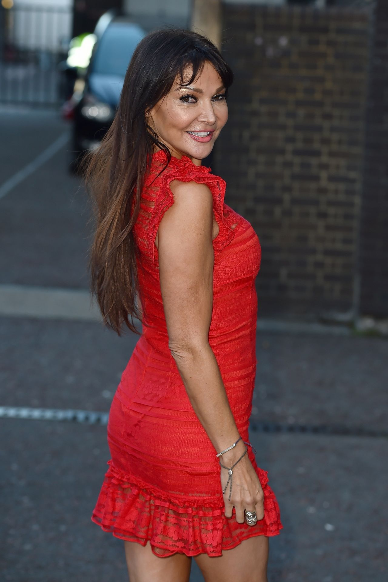 Lizzie Cundy In A Red Mini Dress At The Itv Studios In