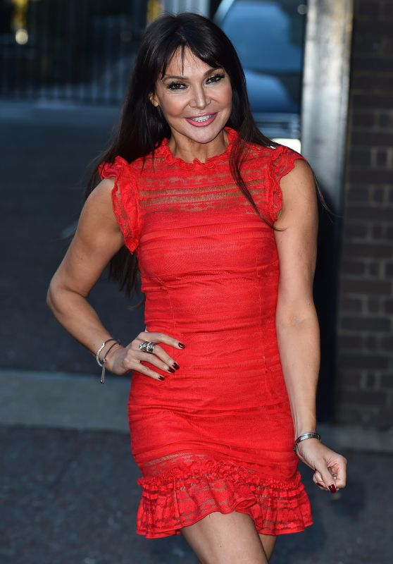 Lizzie Cundy in a Red Mini Dress at the ITV Studios in London 11/13/2017