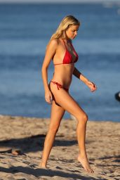 Louisa Warwick in a Red Bikini - Miami Beach 11/24/2017