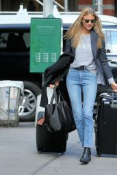 Martha Hunt & Elsa Hosk - Pose With Their Luggage in NYC 11/16/2017
