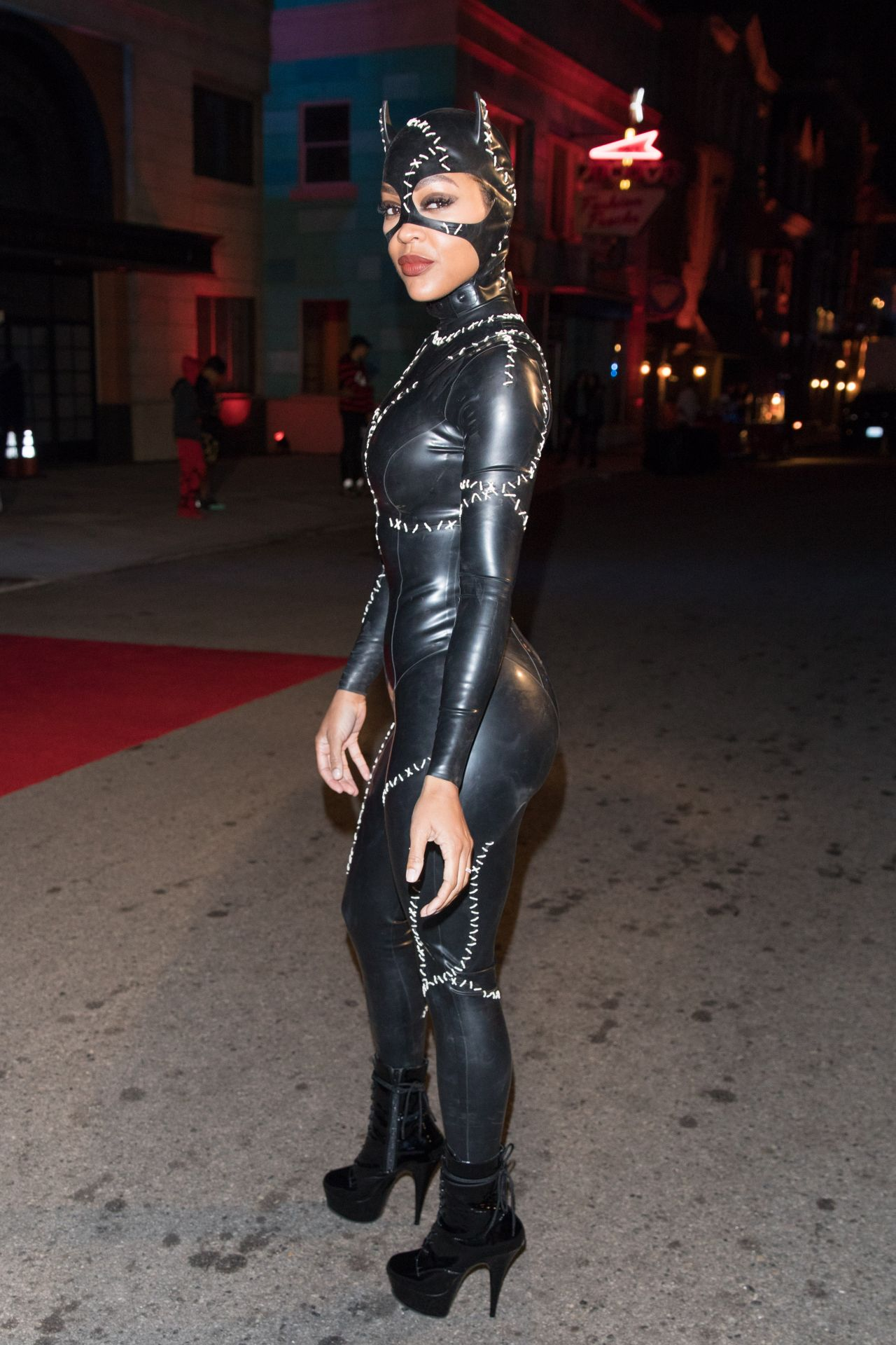 Meagan Good In Latex Catsuit Chris Brown Album Release