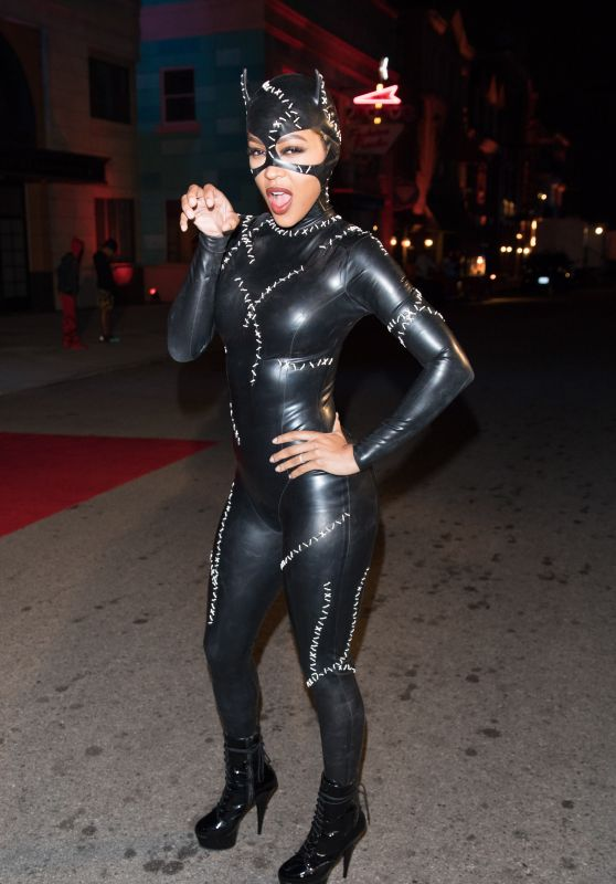 Meagan Good in Latex Catsuit - Chris Brown Album Release Party in Universal Studios 10/31/2017