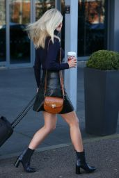 Mollie King in Mini Skirt - Leaving Her Hotel in London 11/25/2017