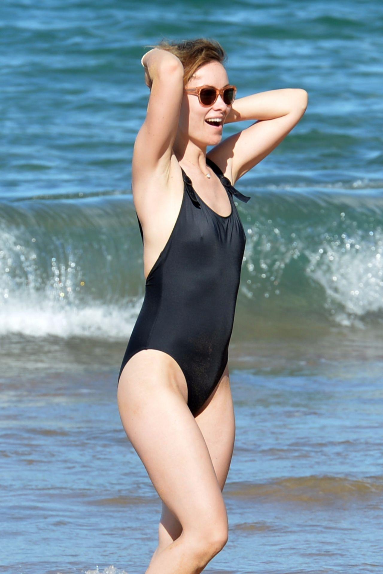 Olivia Wilde in a Black Swimsuit - Hawaii 11/19/2017