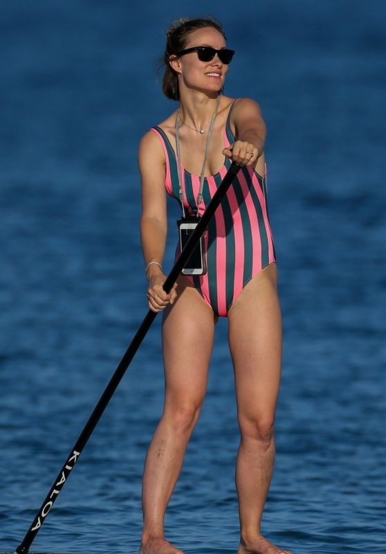 Olivia Wilde in Swimsuit - Paddleboarding in Hawaii 11/20/2017