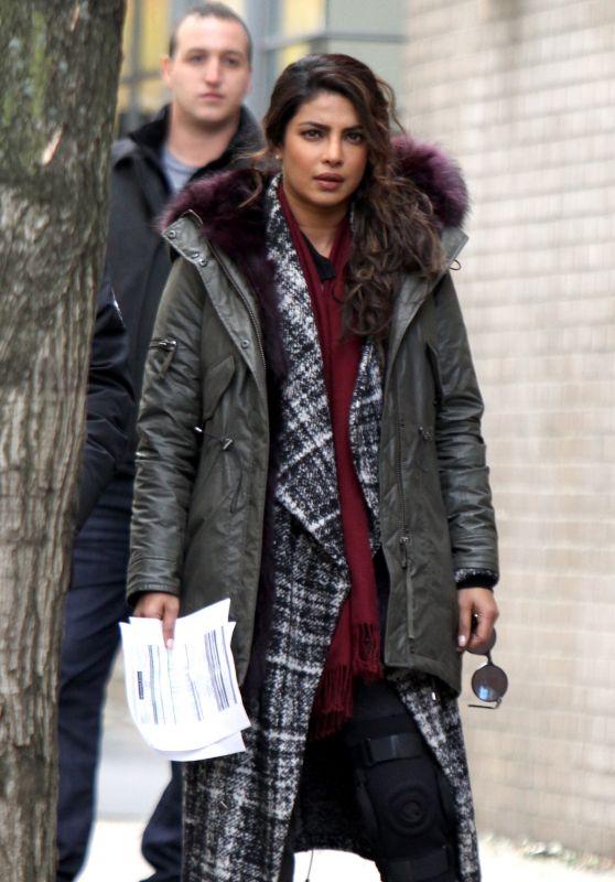 "Priyanka Chopra - Wears an Ortophedic Knee Brace at the ""Quantico"" Set in NYC 11/14/2017"