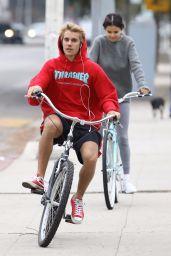 Selena Gomez With Justin Bieber - Bike Ride in LA 11/01/2017