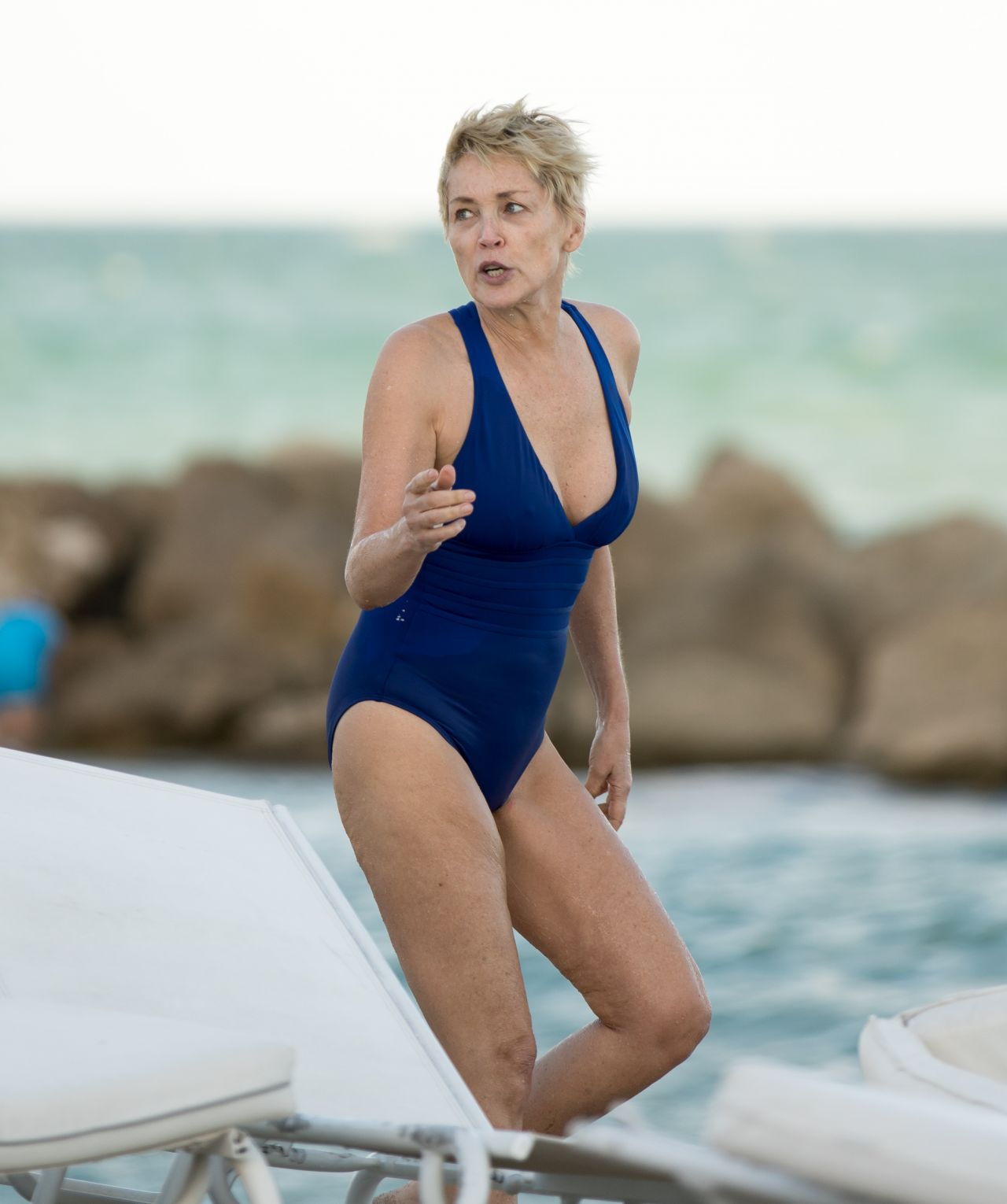 Sharon Stone in Bikini Top with her boyfriend at the beach in Miami Pic 3 of 35