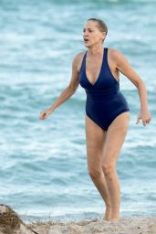 Sharon Stone in a Blue One-Piece Swimsuit on the Beach in Miami 11/03/2017