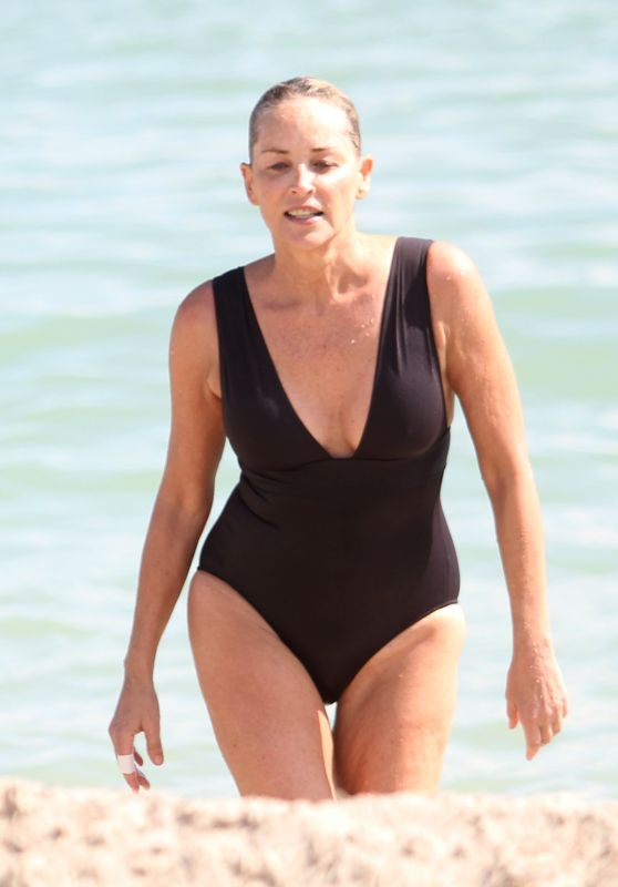 Sharon Stone in Skintight Swimsuit in Miami 11/05/2017