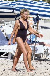 Sharon Stone in Skintight Swimsuit in Miami 11/05/2017