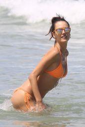Alessandra Ambrosio in a Peach Bikini on the Beach in Rio de Janeiro