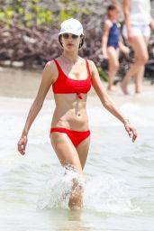 Alessandra Ambrosio in a Red Bikini on the Beach in Florianopolis 12/17/2017