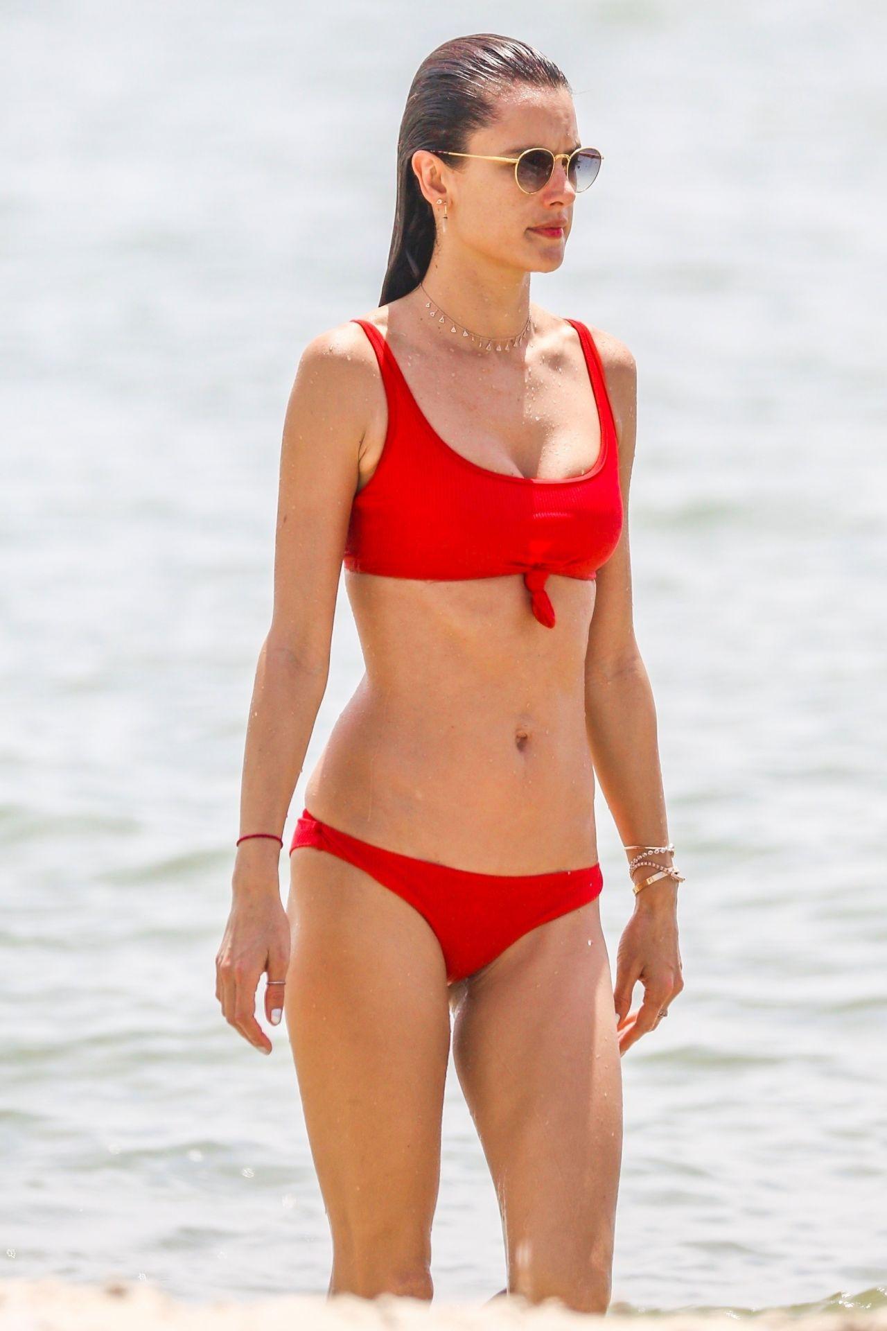 Alessandra Ambrosio in Red Bikini on the beach in Florianopolis Pic 2 of 35