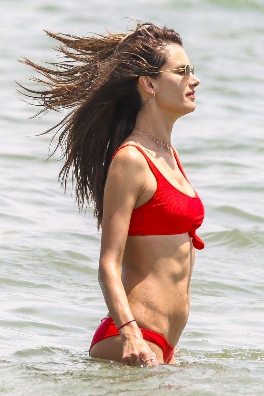 Alessandra Ambrosio in Red Bikini on the beach in Florianopolis Pic 1 of 35