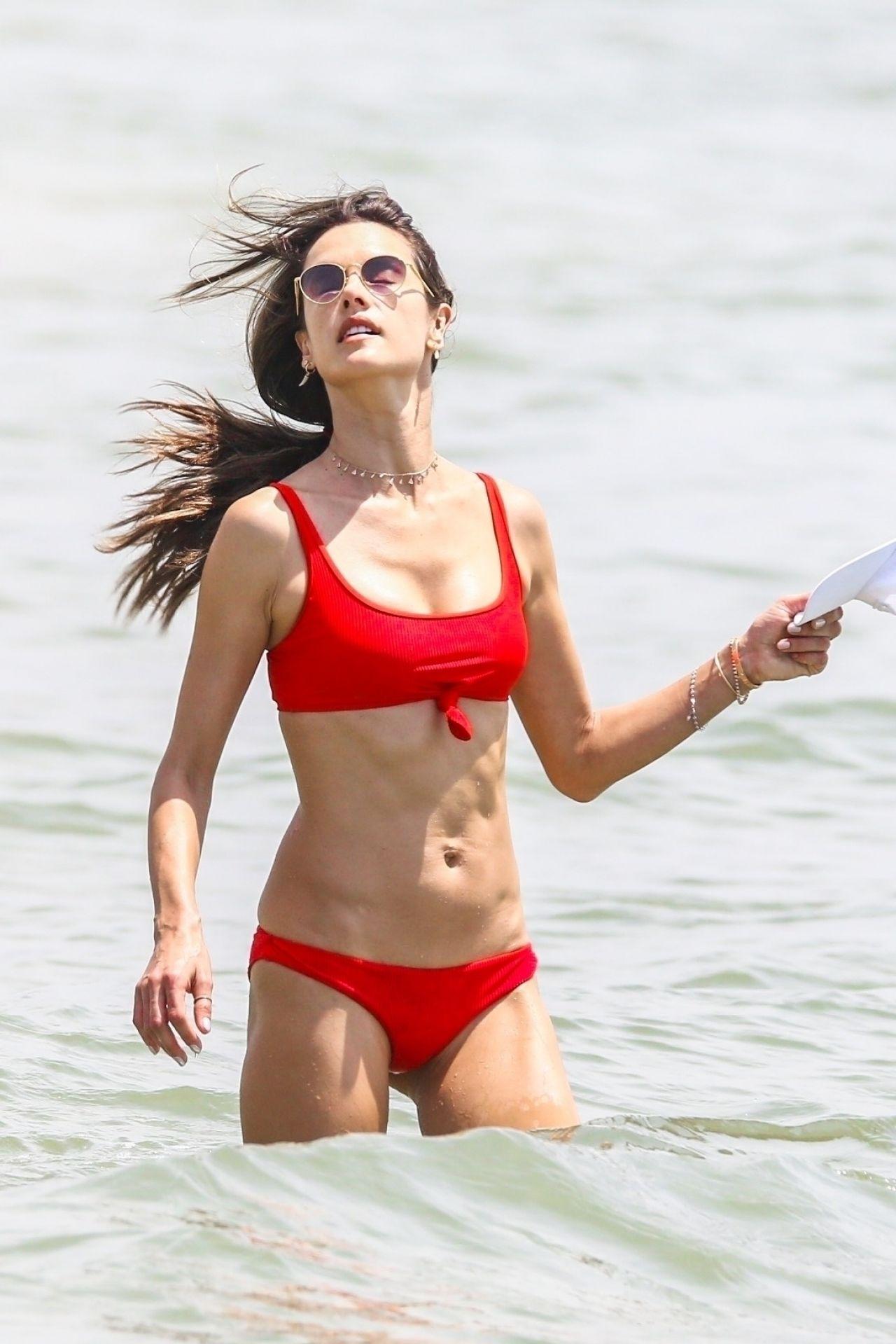 Alessandra Ambrosio in Red Bikini on the beach in Florianopolis Pic 10 of 35
