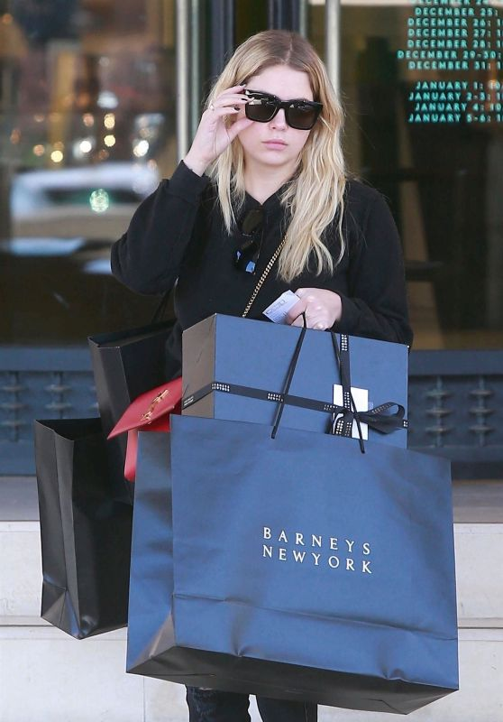 Ashley Benson Christmas Shopping at Barneys in NYC
