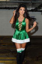 Chloe Khan in Green Santa Outfit in Liverpool 12/30/2017