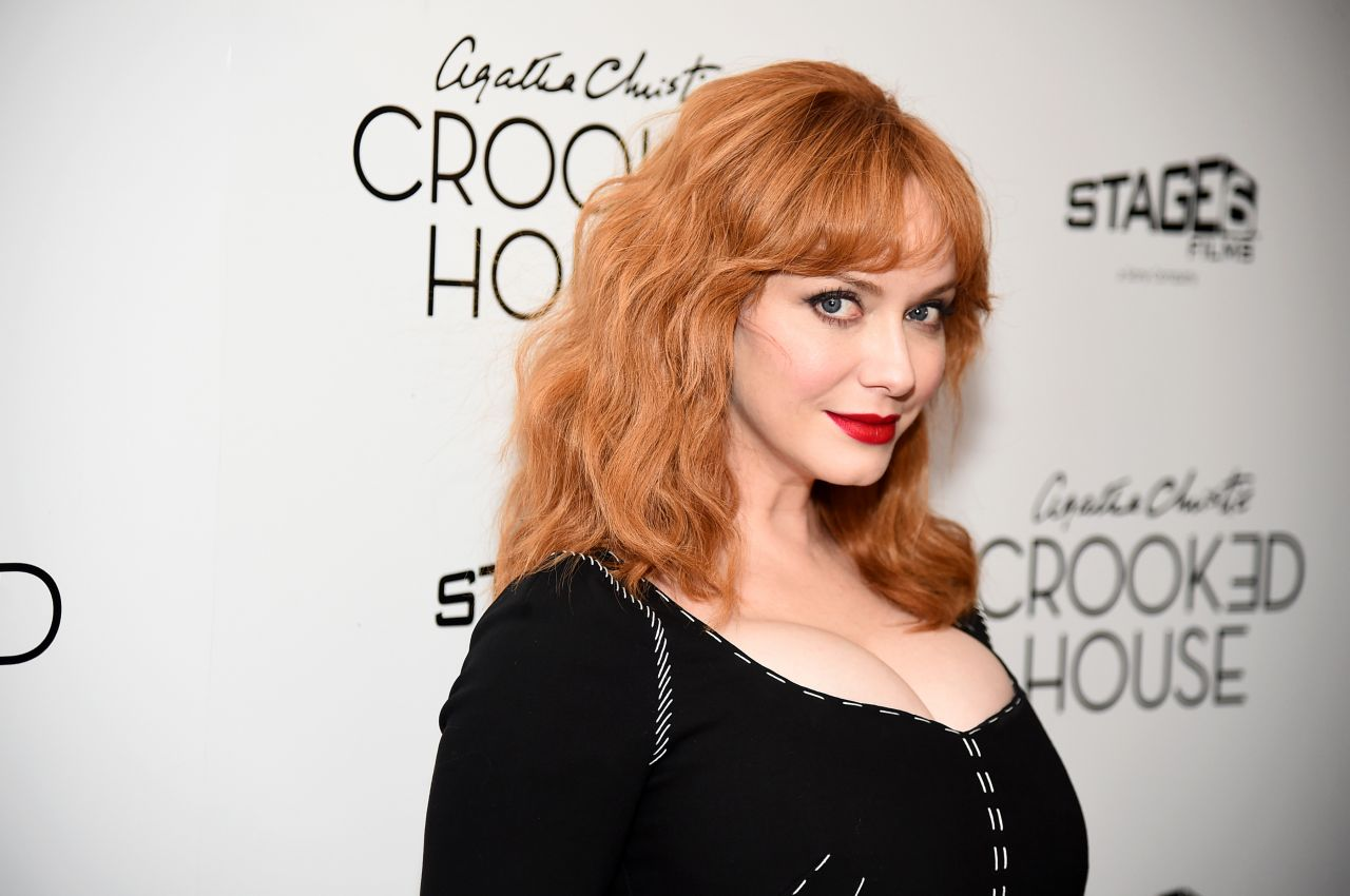 Christina hendricks crooked house premiere at for Hendricks house