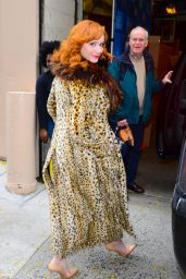 Christina Hendricks Hair Blows Up in the Wind - NYC 12/13/2017