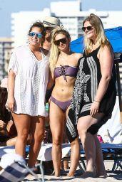 Corinne Olympios in a Purple Bikini on the Beach in Miami Beach
