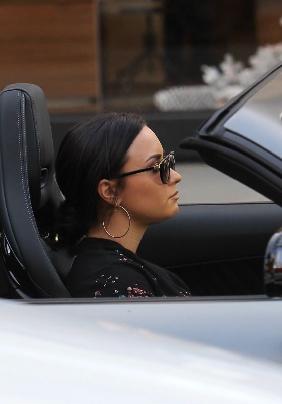 Demi Lovato in Her Mercedes Coupe - Beverly Hills 12/24/2017