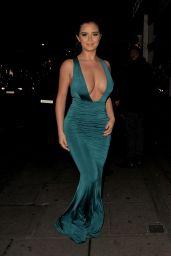 Demi Rose in Green Dress - Night Out in Mayfair in London
