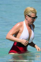 Emma Forbes in Red & White Swimsuit - Barbados 12/22/2017