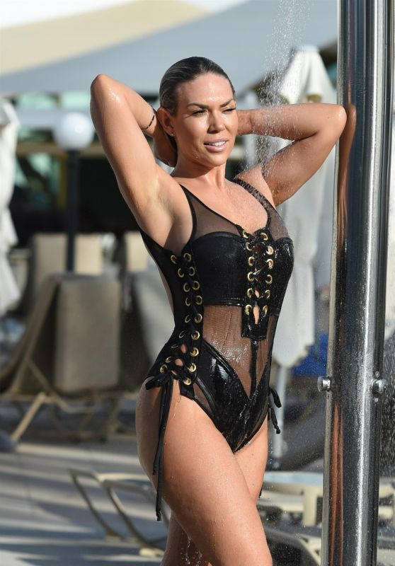 Frankie Essex in Lace-Up Swimsuit in Cape Verde