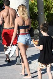 Hailey Baldwin in Bikini Top on the Beach in Miami